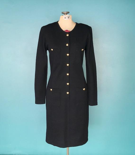 Black Wool 80s Sweater Shirt Dress 1980s Vintage … - image 2