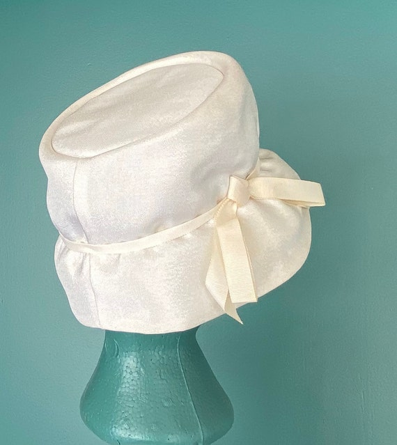 White Vintage 60s Womens Bucket Hat Women Wide Br… - image 8