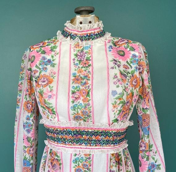 Prairie 70s Floral Cottagecore Folk Dress Vintage… - image 4