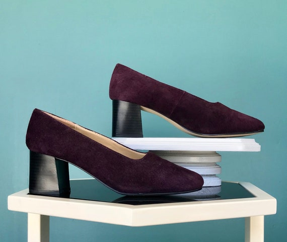 Leather Block Heel Shoes Square Toe Shoes, TaraLyn