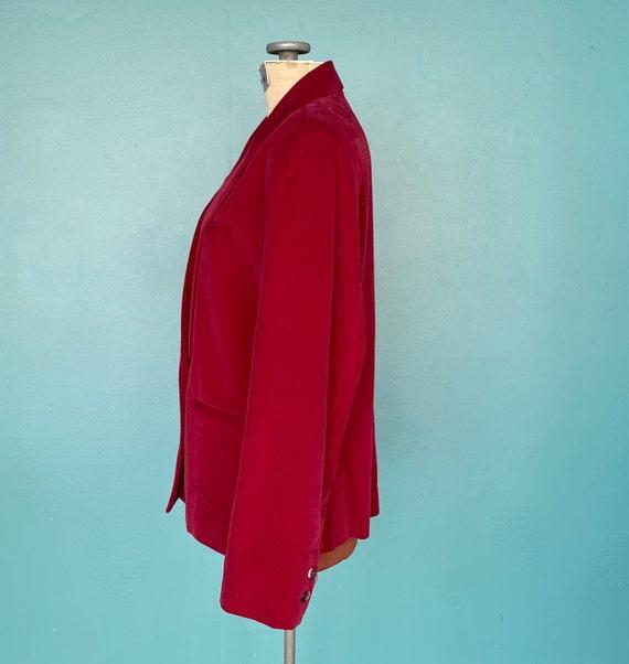 Red Velvet 80s Vintage Womens Blazer 80s Red Velv… - image 7