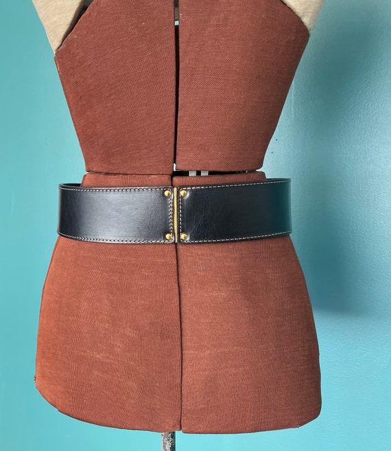 Wide Black Leather Belt 1980s Wide Belt, TaraLynE… - image 8