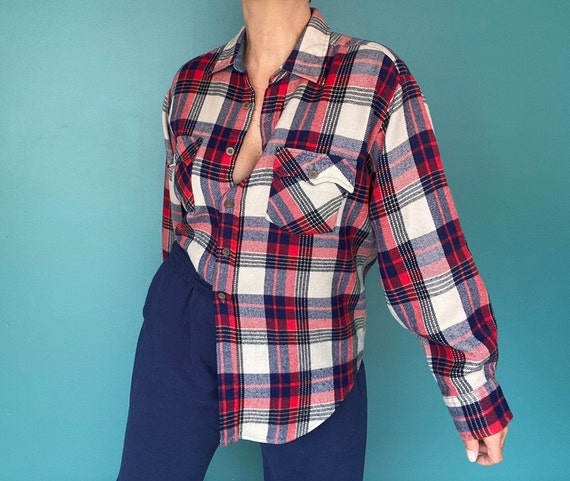 Flannel Shirt Plaid Shirt Vintage Flannel Womens … - image 2