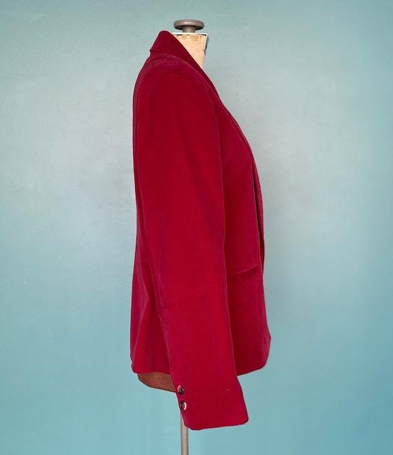 Red Velvet 80s Vintage Womens Blazer 80s Red Velv… - image 6