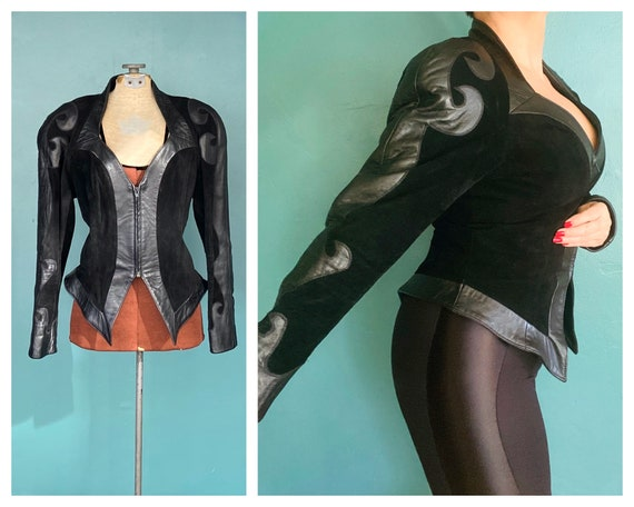 Black Leather 80s Jacket Vintage Womens Jacket 80s