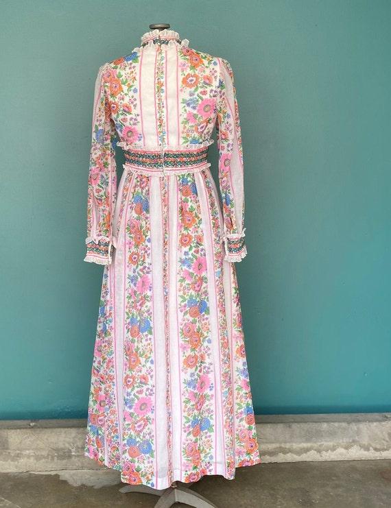 Prairie 70s Floral Cottagecore Folk Dress Vintage… - image 7