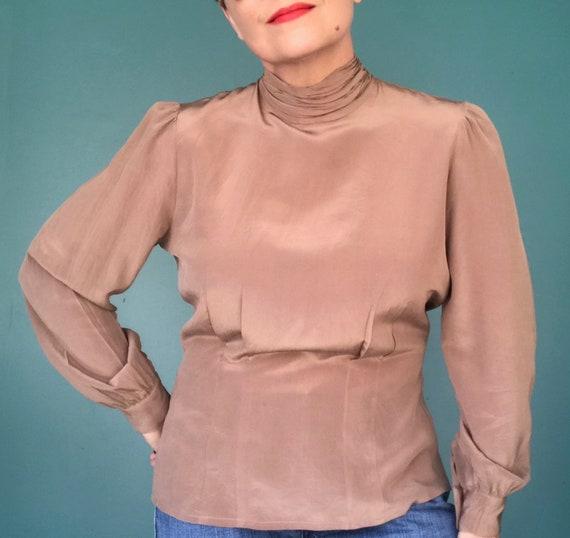 80s Silk Blouse Puff Sleeve Secretary Blouse, Tara