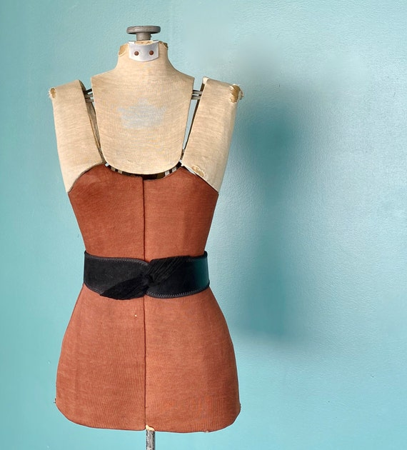 Wide Leather Black Vintage Waist Belt 80s High Wa… - image 4