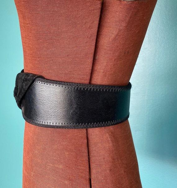 Wide Leather Black Vintage Waist Belt 80s High Wa… - image 6