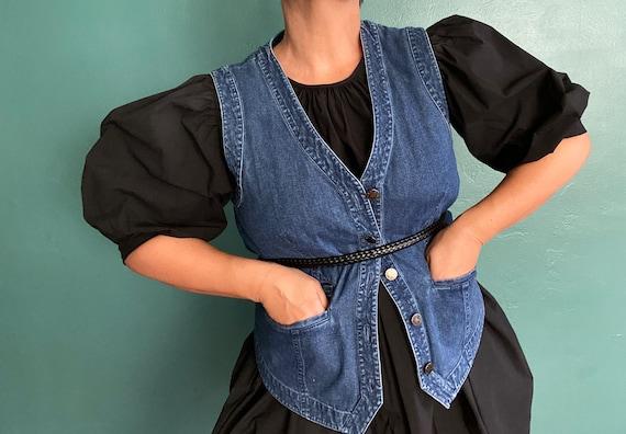 Vintage Denim Womens Jean Vest Denim Womens Vinta… - image 1