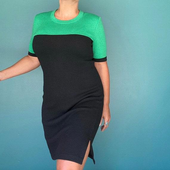80s Black Sweater Dress Color Block Dress, TaraLyn