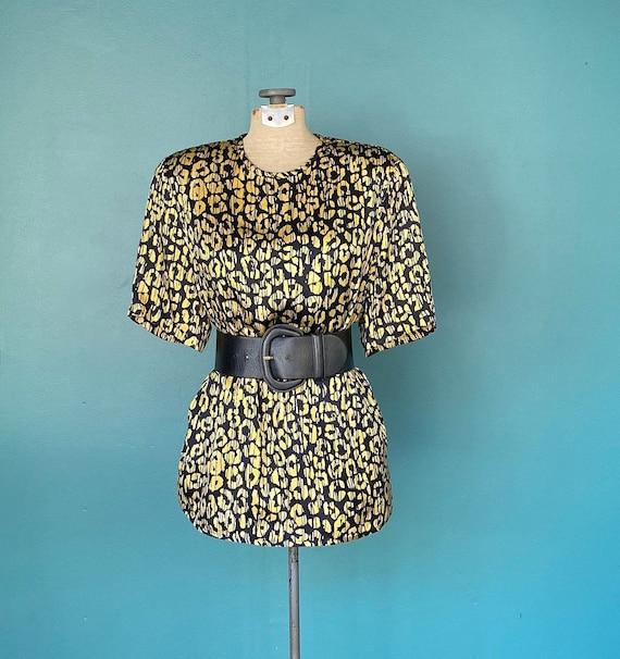 Leopard Silk Blouse Vintage Leopard Top, TaraLynEv