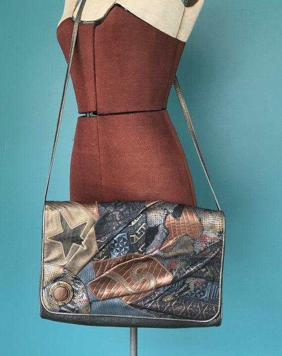 Patchwork 80s Envelope Bag Leather Bag, TaraLynEva