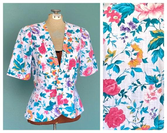 Colorful Floral 80s Vintage Peplum Top Short Sleev