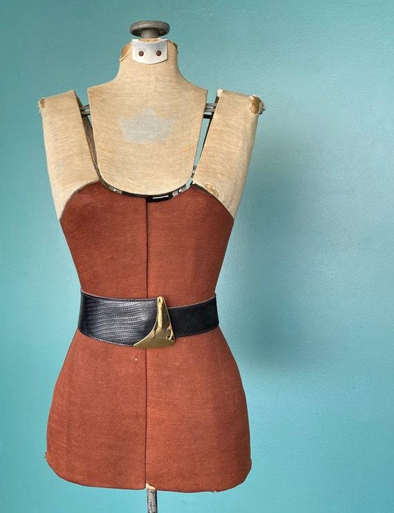 Wide Black Leather Vintage Womens Belt 80s Leathe… - image 2