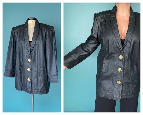 80s Black Leather Jacket Leather Blazer, TaraLynEv