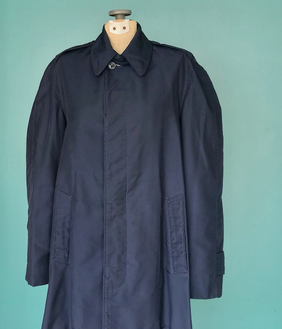 Vintage Trench Coat Navy Military Trench Coat Nau… - image 5