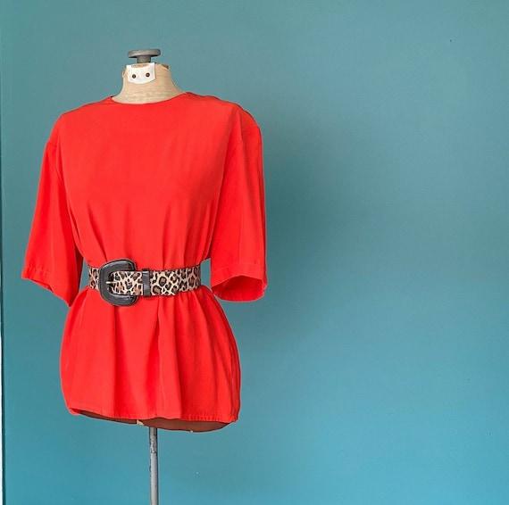 Silk Minimal Orange 80s Women Blouse Vintage Silk
