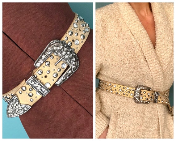 Gold Rhinestone Belt Crystal Leather Belt, TaraLyn