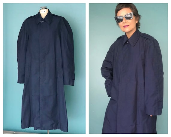 Vintage Trench Coat Navy Military Trench Coat Nau… - image 1