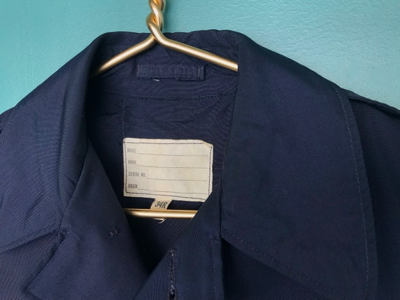 Vintage Trench Coat Navy Military Trench Coat Nau… - image 8