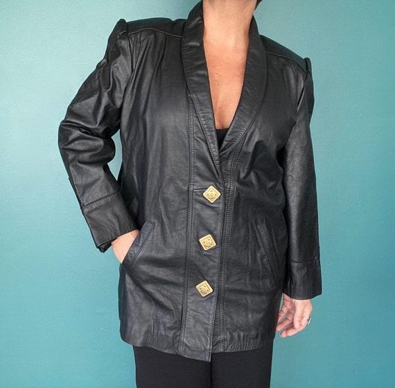 80s Black Leather Jacket Leather Blazer, TaraLynE… - image 8