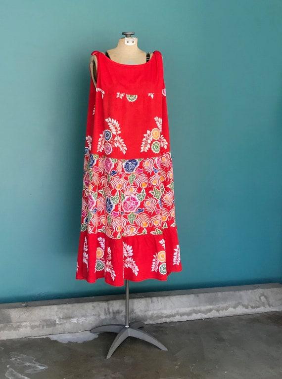 Red Boho Maxi Dress Batik Bali Beach Dress, Bohemi