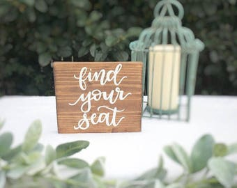 Wedding sign wedding wood sign rustic wedding sign rustic wedding decor wedding decorations find your seat sign ceremony seating sign