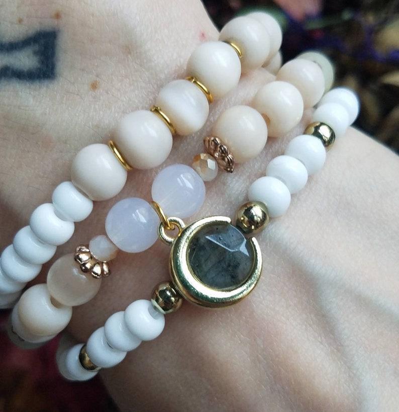 Green Stone Jewelry Amazonite Bracelet Neutral Toned Bracelets Heart Chakra Bracelet Stack Labradorite Pink Beaded Wedding Jewelry