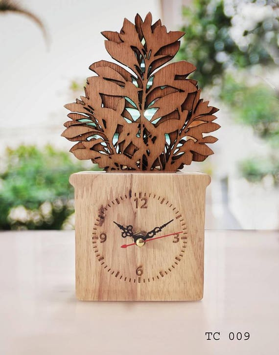 Wooden Table Clock Home Decor Jardiniere Design Gift Etsy