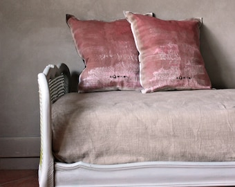 made in Italy heart pillow hand paint pillow 24x24 in pure linen with linen embrodery