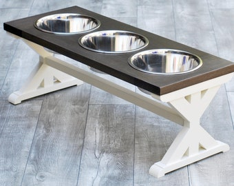Large 3 Bowl Farmhouse Dog Bowl Stand