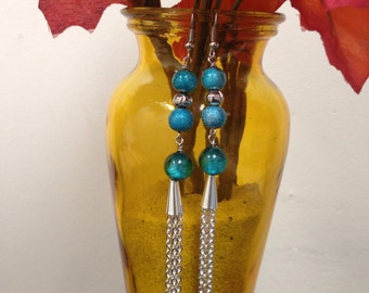 Blue beaded tassle earrings