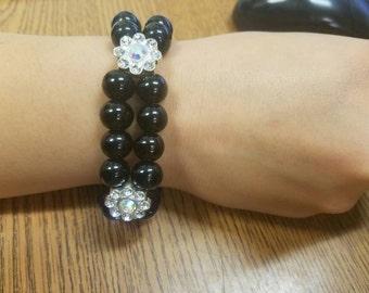 Two strand black goddess bracelet