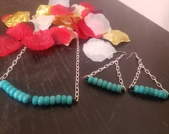 """Turquoise with Black Trim 20"""" Necklace Set"""
