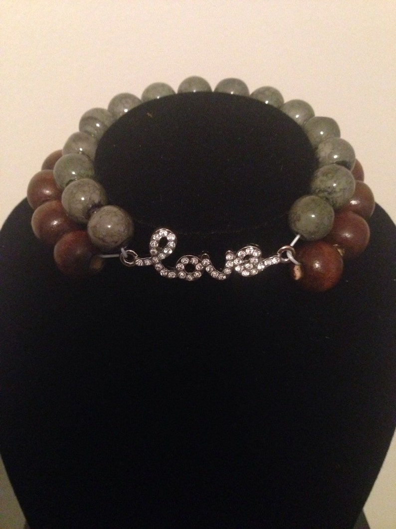 two strand bracelet with pendant Two tone