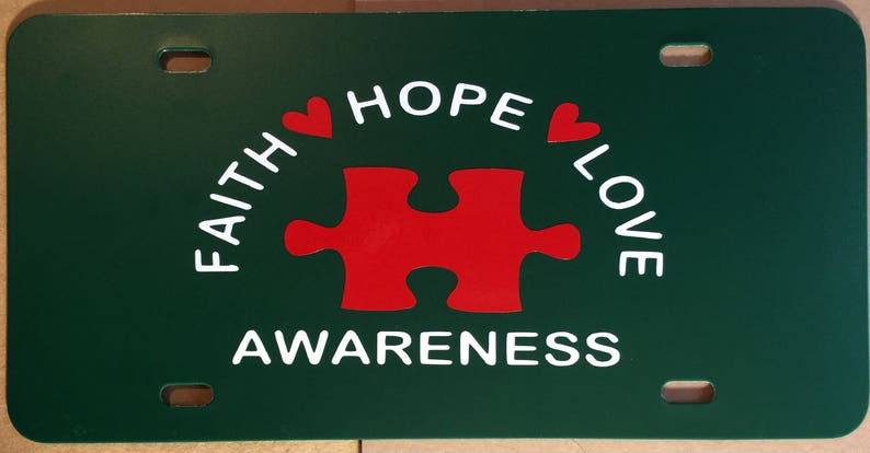 Faith Hope Love Awareness Autism License Tag Autism License image 0