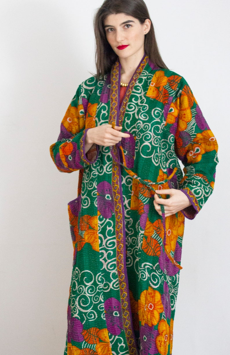 100/% cotton Kantha stitch coat made from pure cotton vintage saris Kantha stitch coat Vintage cotton coat