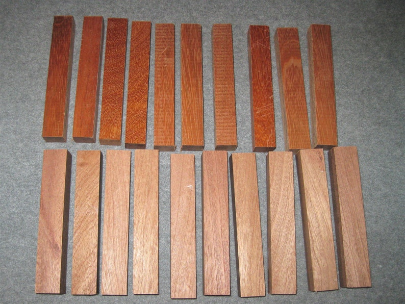 AFRICIAN MAHOGANY And BRAZILIAN Cherry Fountain Pen Blanks-20  Blanks-Beautiful Hard Wood That Turns Into Very Beautiful Pens-Exotic Wood