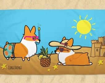 Corgi Beach Party Beach Towel   Printed Terrycloth   Welsh Corgi Summertime Fun   Made to Order