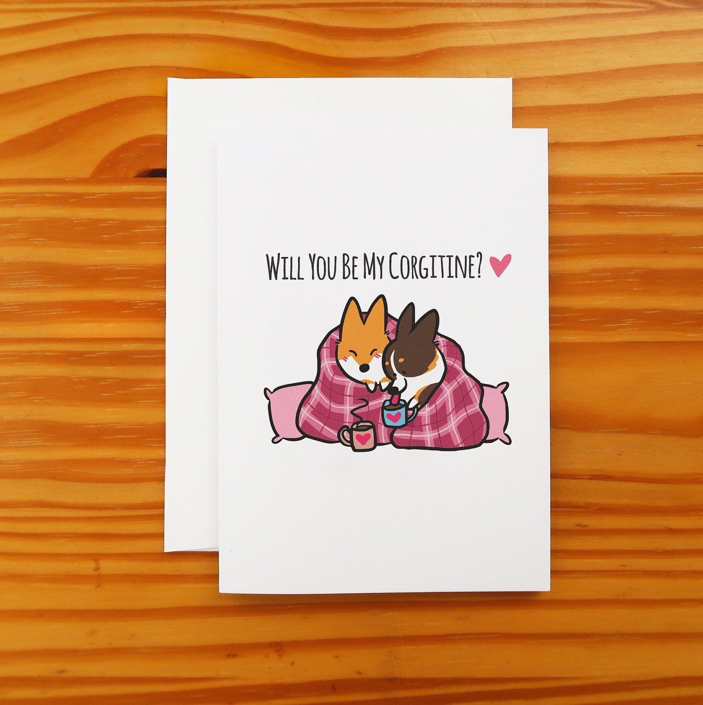 Corgi Valentines Day Snuggle Greeting Card 5x7 Etsy