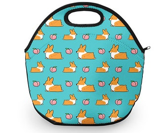 Blue Corgi Peach Sploot Neoprene Fabric Lunch Tote | 12 x 12 inches with Zip Top | Customizable and Made to Order