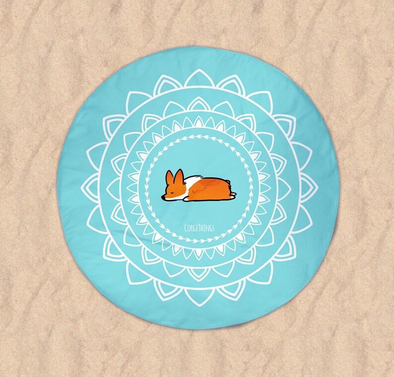 0172fa7a1c Namaste Corgi Beach Round Towel 60x60 inch Printed | Etsy