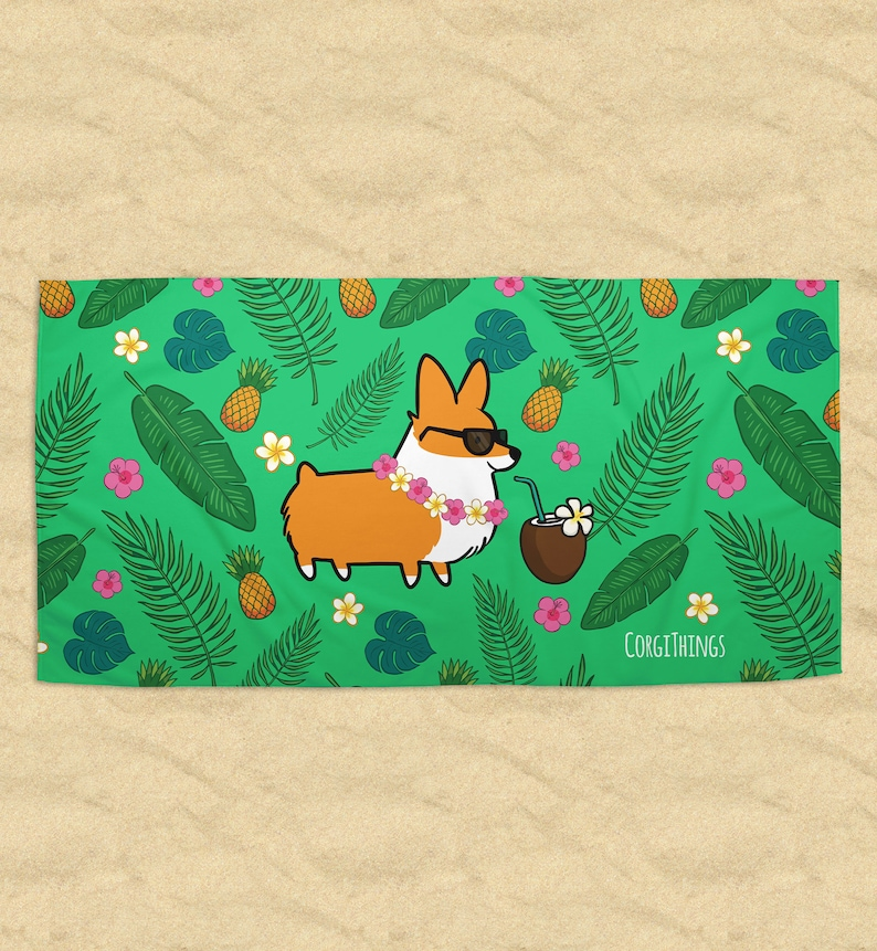 ec65335850c Tropical Corgi Beach Towel Printed Terrycloth Welsh Corgi