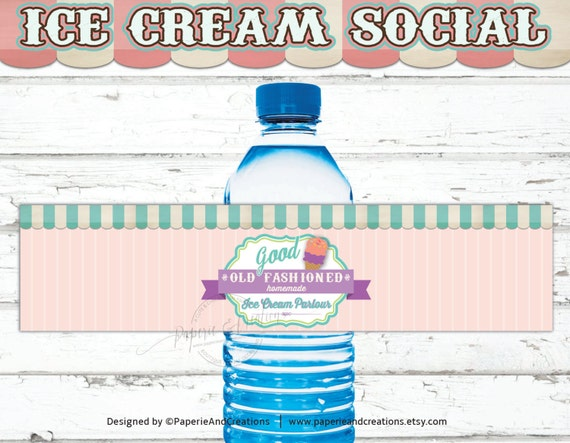Ice Cream Water Bottle Labels Birthday Water Bottle Wrapper Etsy