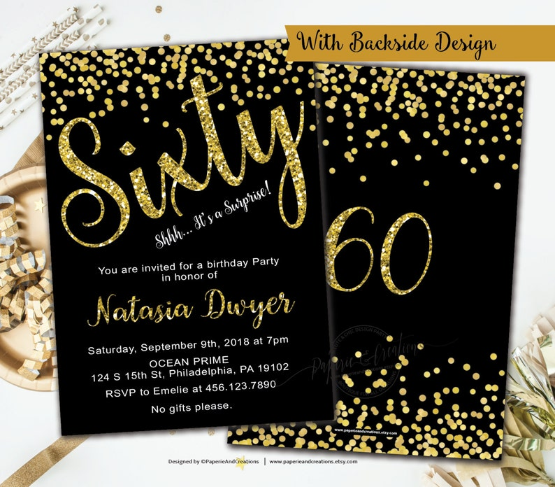 60th Birthday Invitations Gold And Black Party