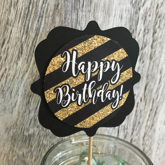 Cheers to 60th Birthday Cupcake Toppers - Gold and Black Party Decoration -  Milestone Birthday Deco - Centerpieces - Assembled - Set of 12