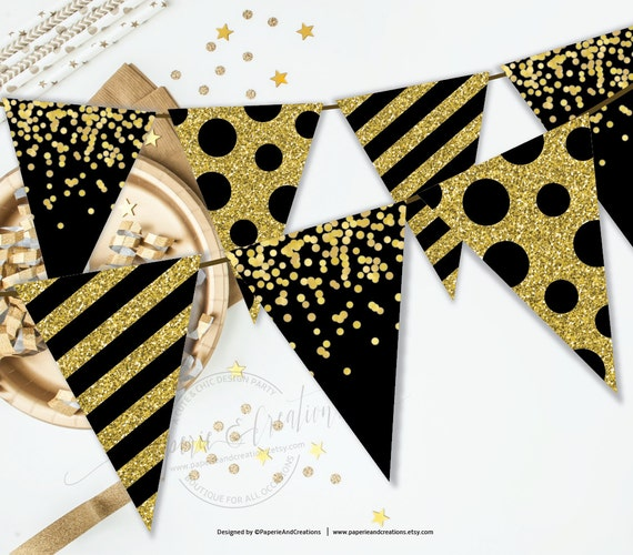Gold And Black Party Decor