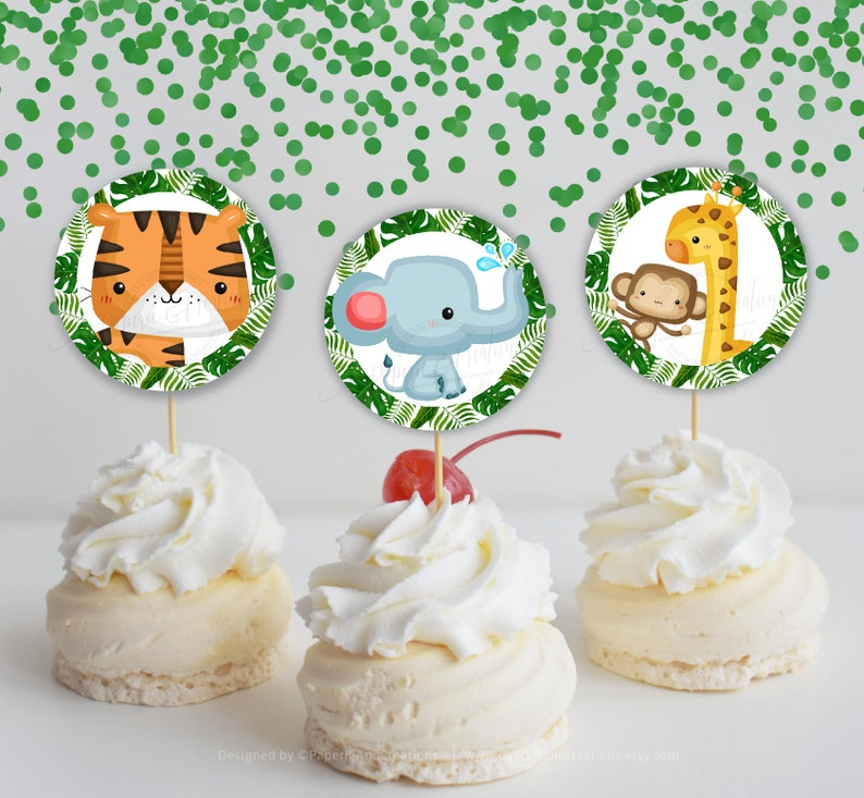 Safari Baby Shower Theme,First Safari Birthday,Wild Animals Cupcake Toppers,Monkey,Elephant,Tiger Tropical Leaves,Printable,Instant download