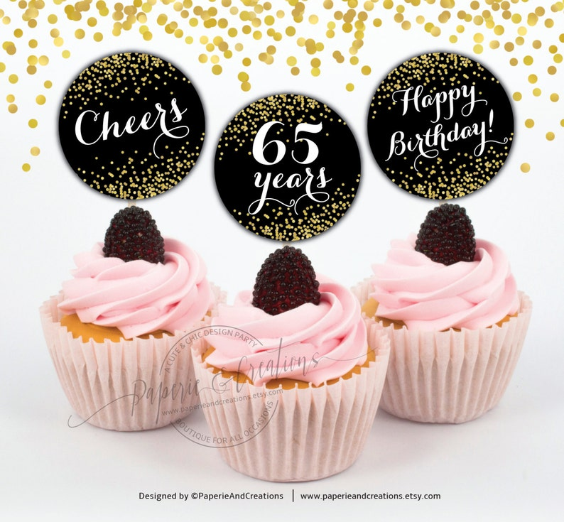 65th Birthday Cupcake Toppers Cheers To 65 Years Gold